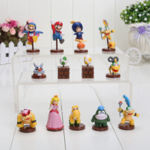 13pcsset Super Mario Bros Luigi Yoshi Dinosaur Koopa Bowser Peach Pvc Figure Action Dolls Box